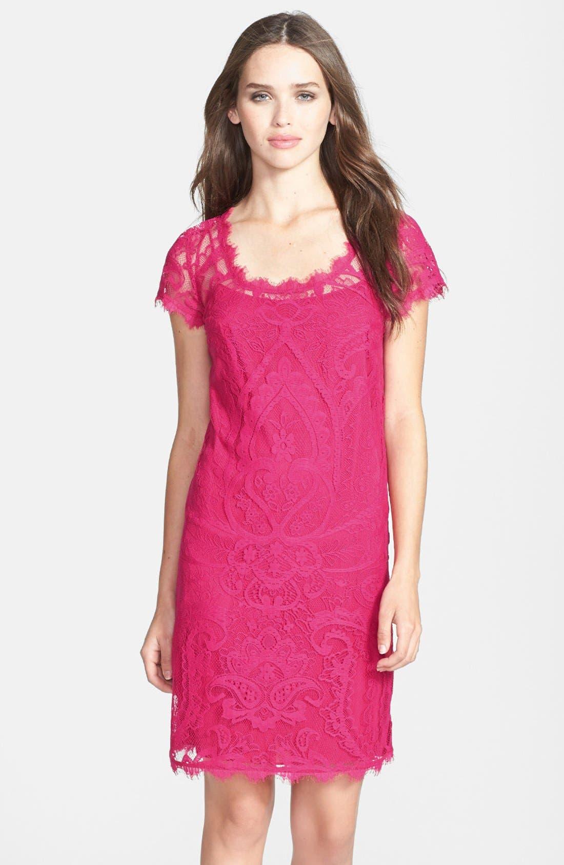 Main Image - Nicole Miller Cap Sleeve Lace Dress