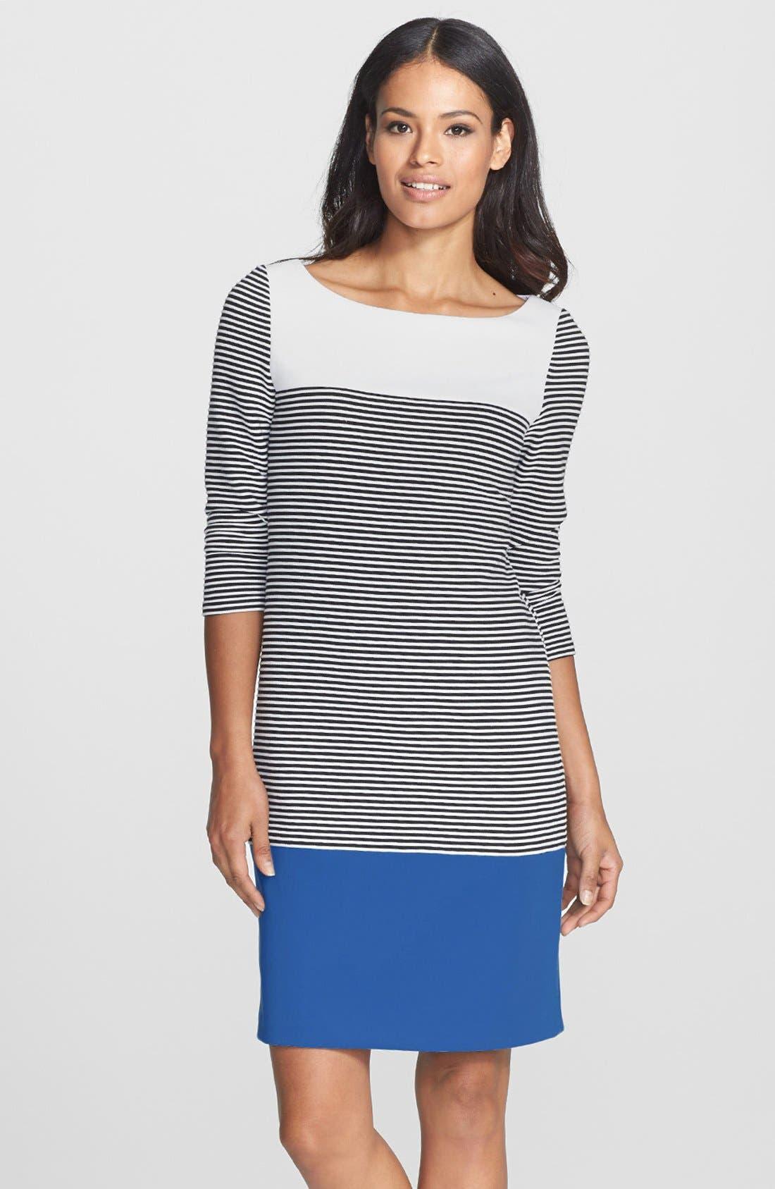 Main Image - Isaac Mizrahi New York Colorblock Stripe Stretch Jersey Shift Dress
