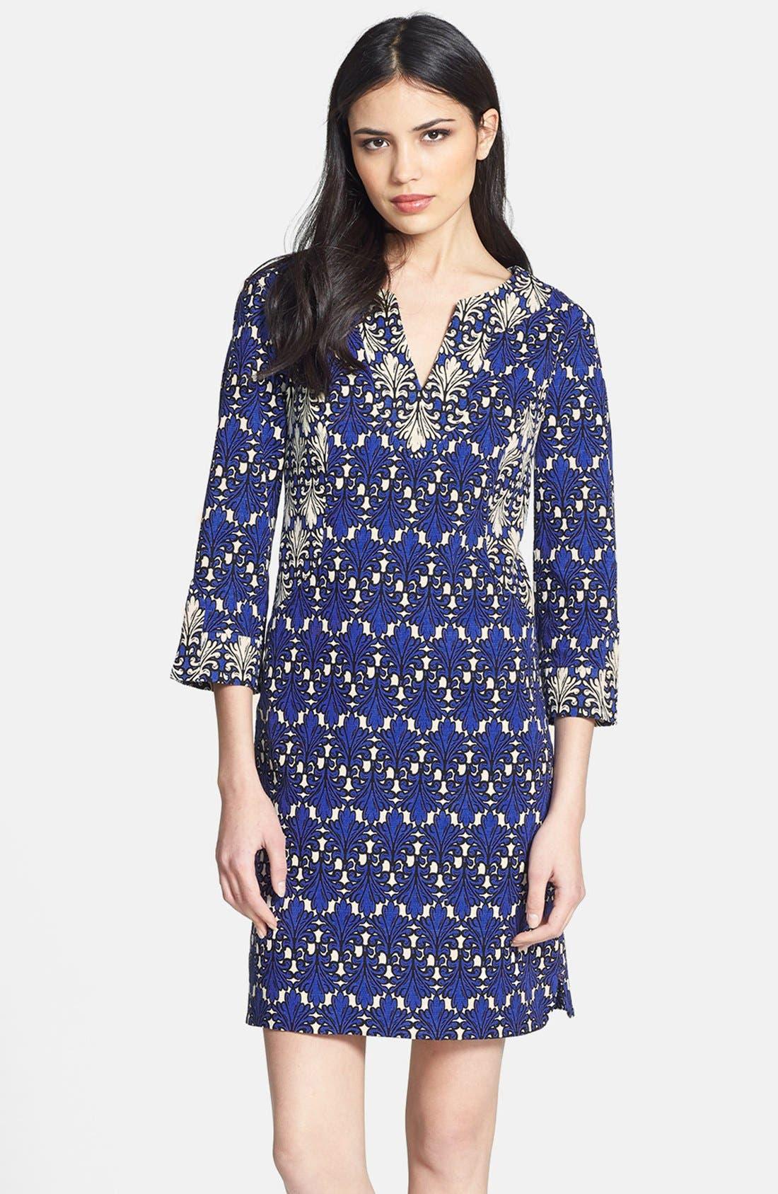Print Cotton Jacquard Shift Dress,                         Main,                         color, Cobalt Multi