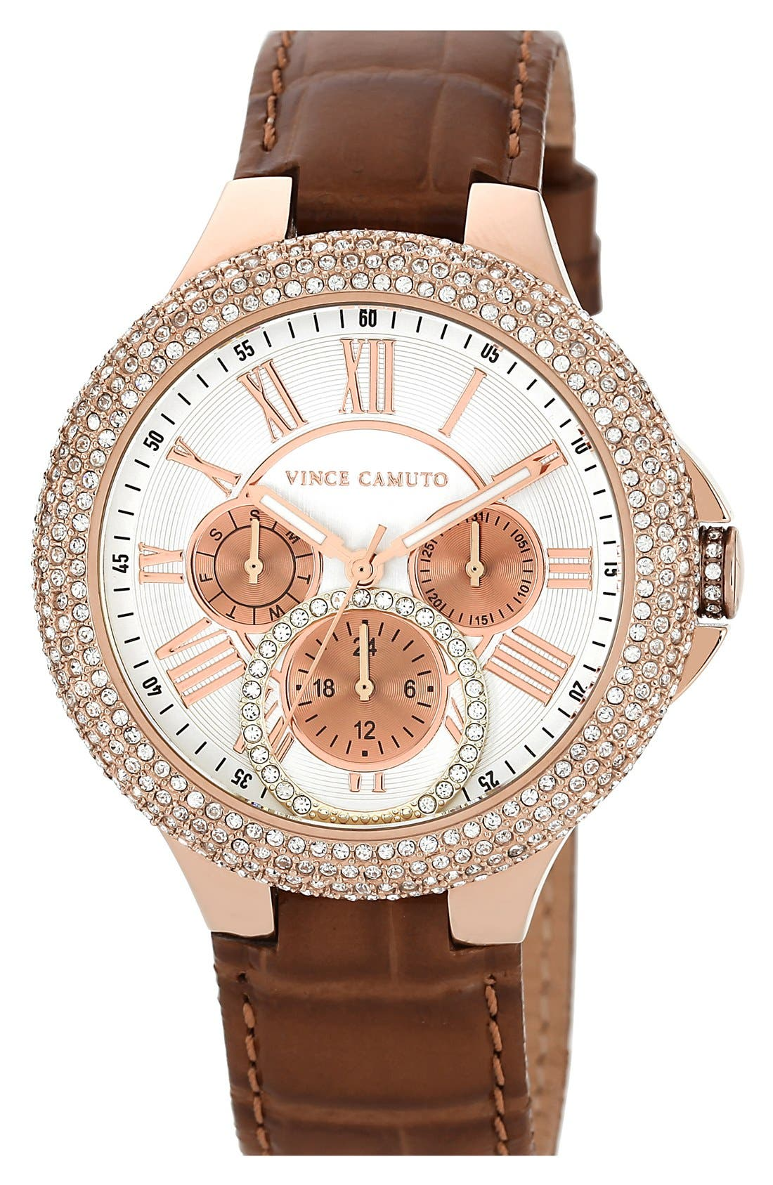 Main Image - Vince Camuto Crystal Bezel Multifunction Leather Strap Watch, 42mm