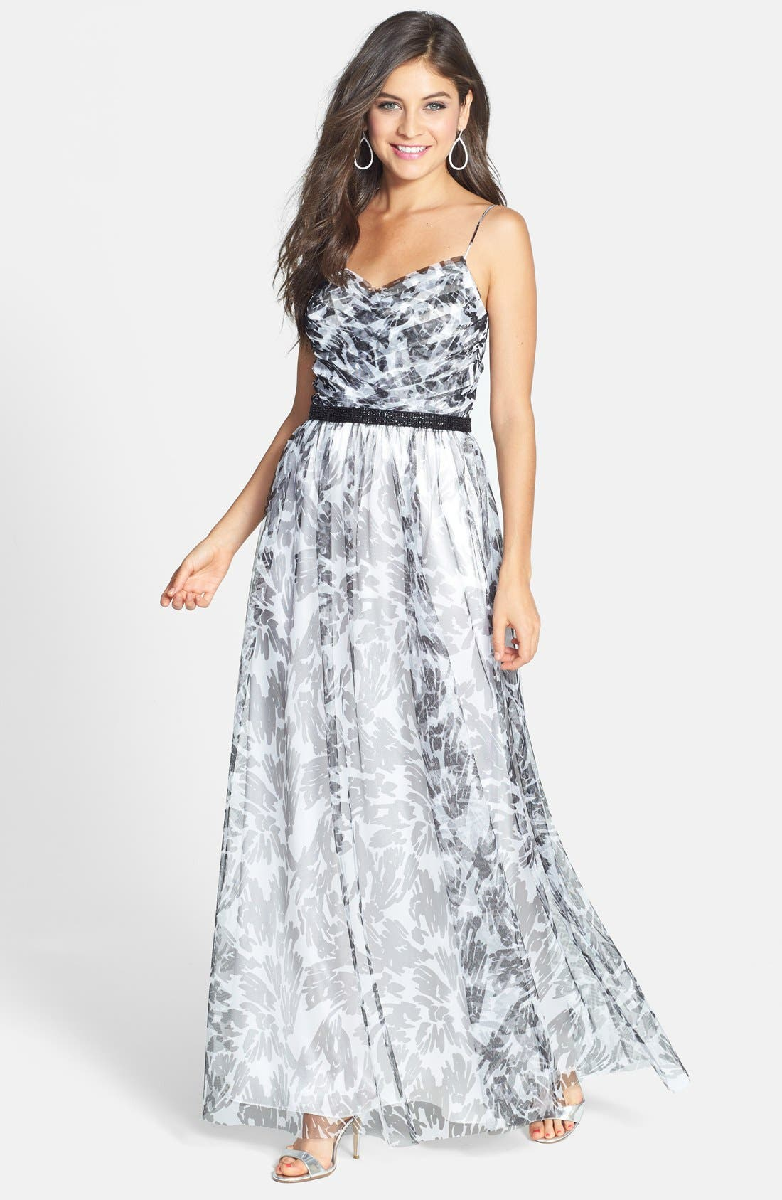 Main Image - Hailey by Adrianna Papell Print A-Line Gown