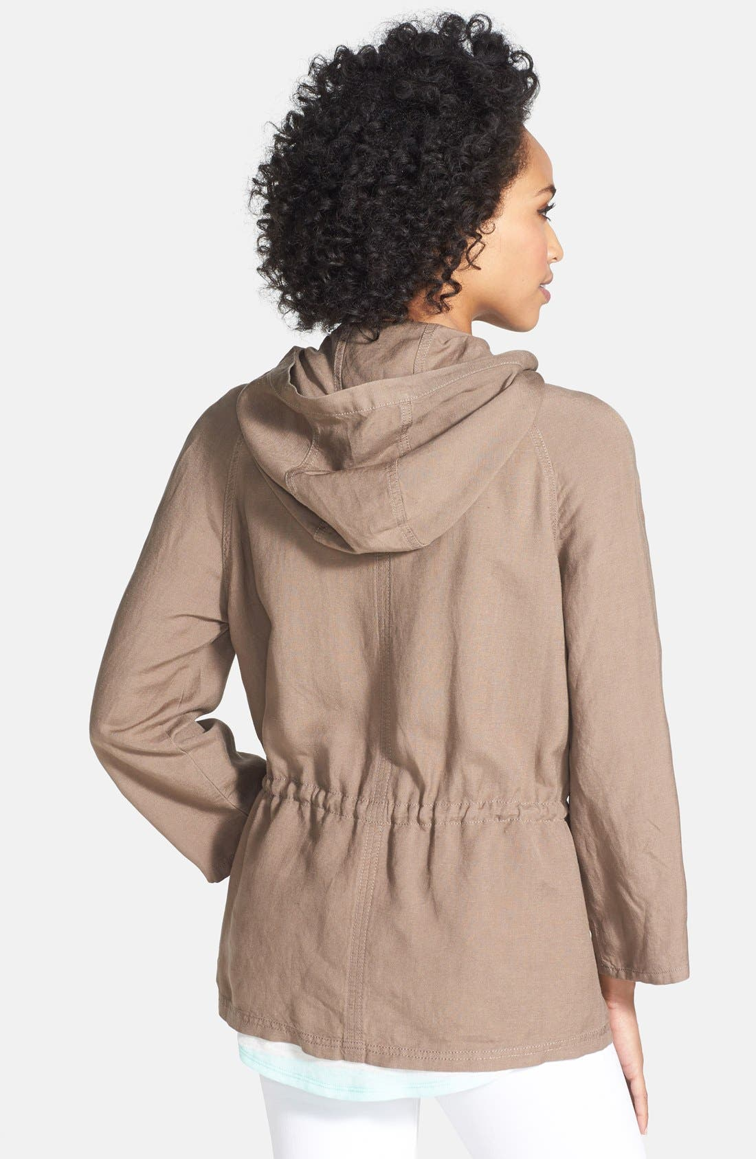 Alternate Image 2  - Caslon® Linen Blend Hooded Jacket