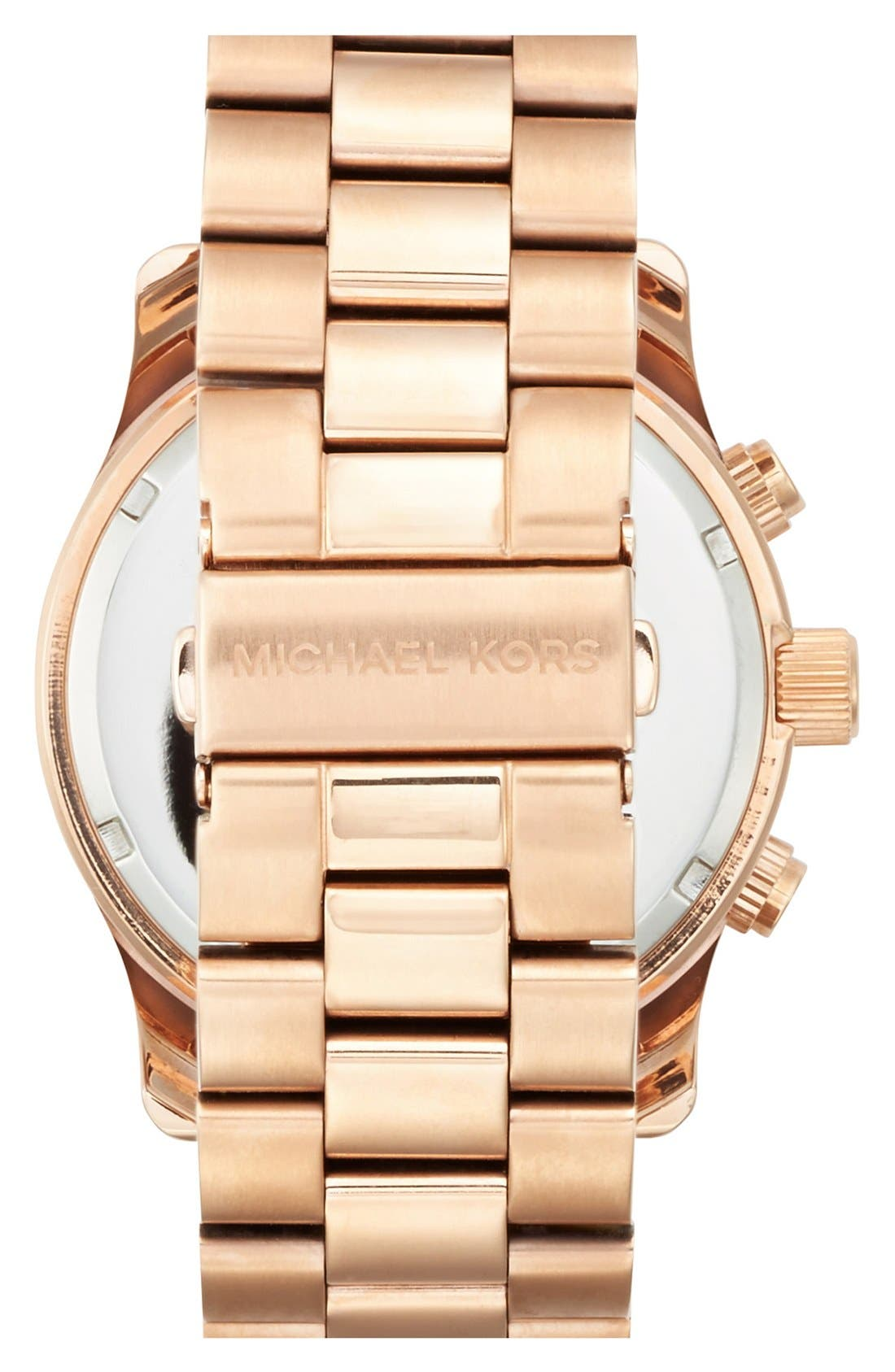Alternate Image 2  - Michael Kors 'Large Runway' Rose Gold Plated Watch, 45mm