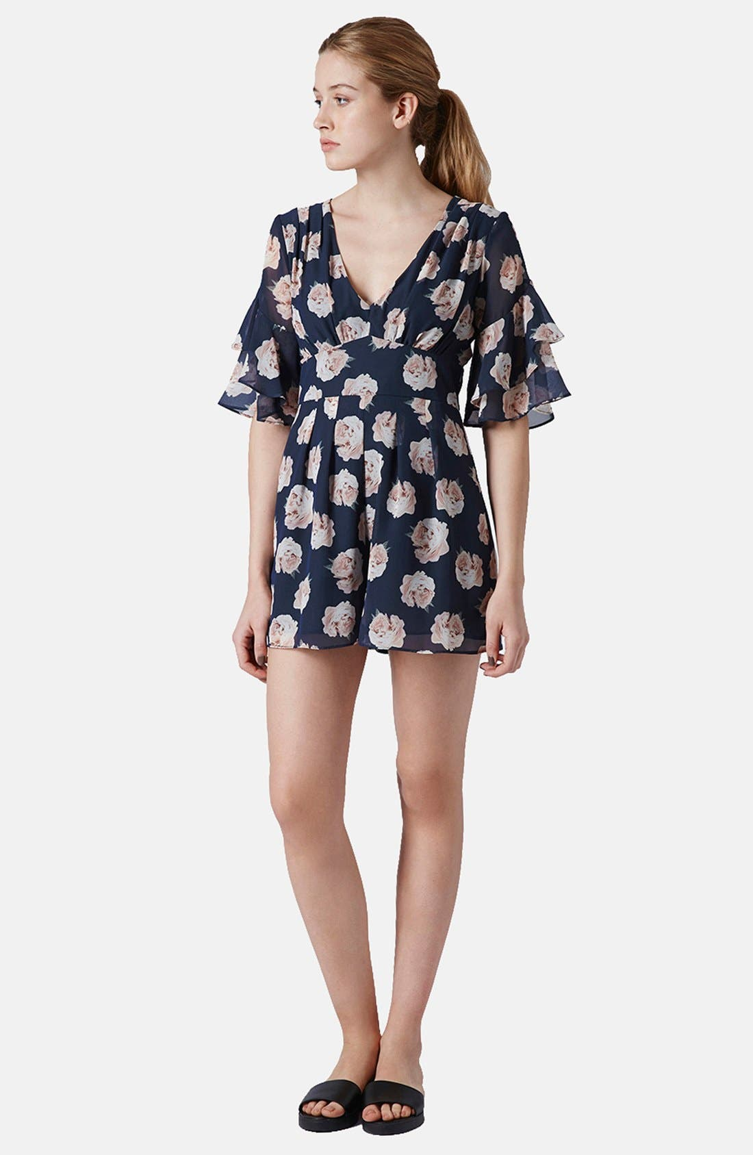 Alternate Image 5  - Topshop Ruffle Floral Chiffon Romper
