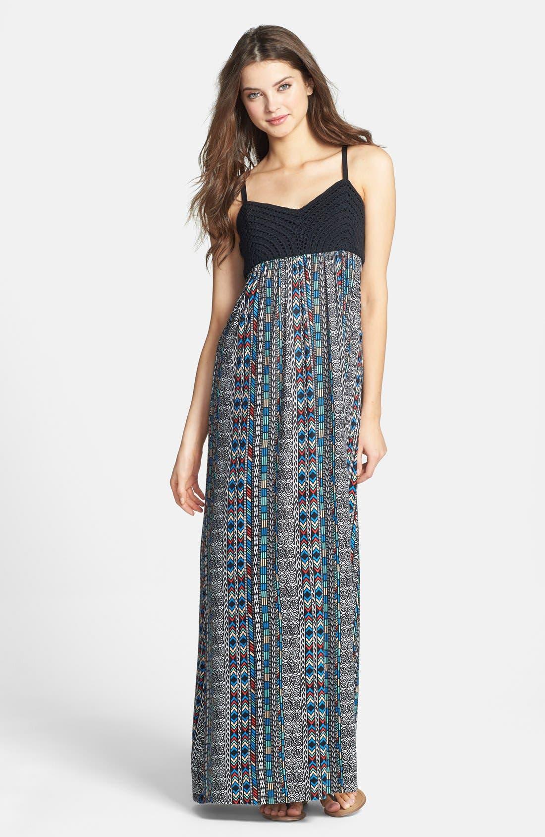 Main Image - Maia Crochet & Print Maxi Dress