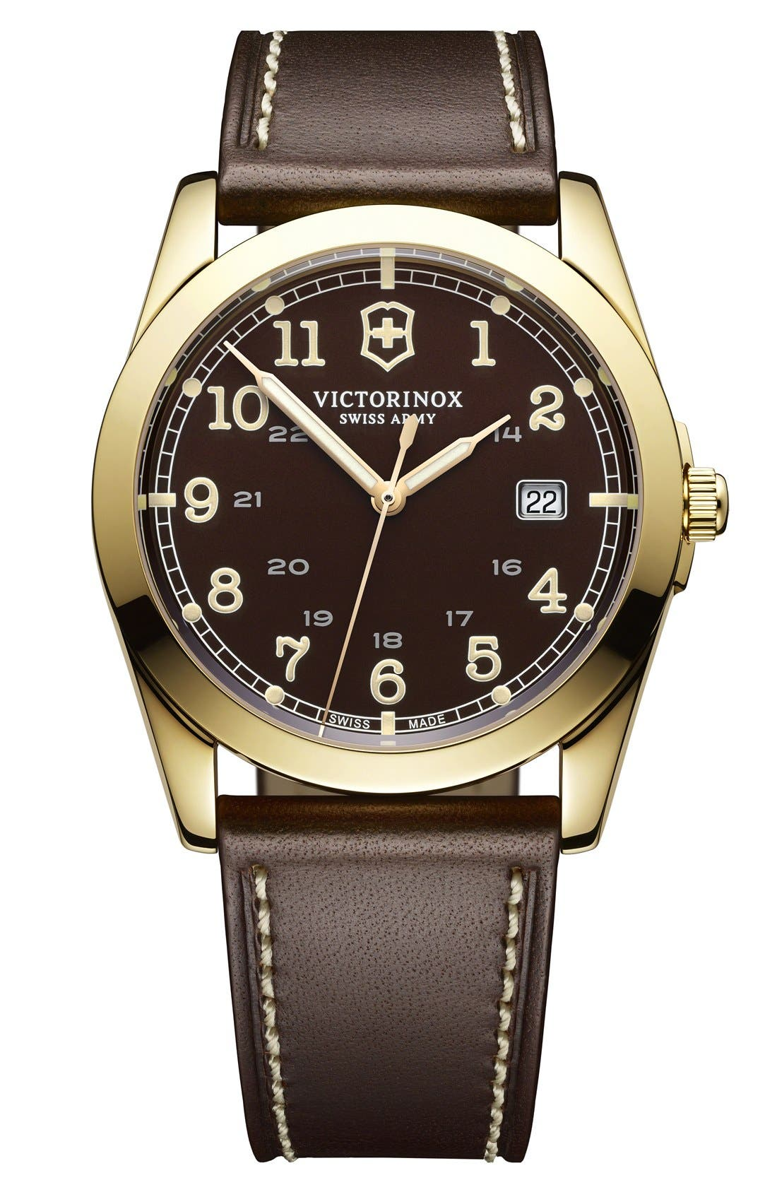 Alternate Image 1 Selected - Victorinox Swiss Army® 'Infantry' Leather Strap Watch, 40mm