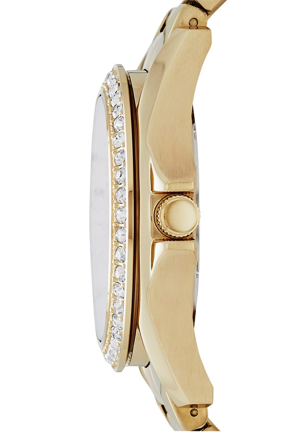 Alternate Image 3  - Fossil 'Riley' Round Crystal Bezel Bracelet Watch, 38mm