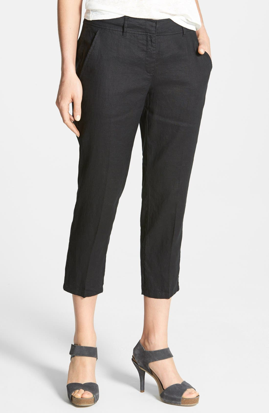 Alternate Image 1 Selected - Eileen Fisher Organic Linen Crop Pants