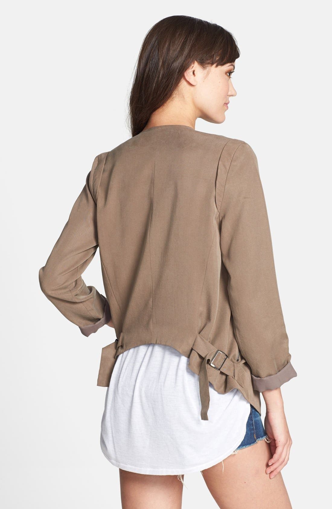 Alternate Image 2  - ASTR Collarless Slouchy Roll Sleeve Jacket