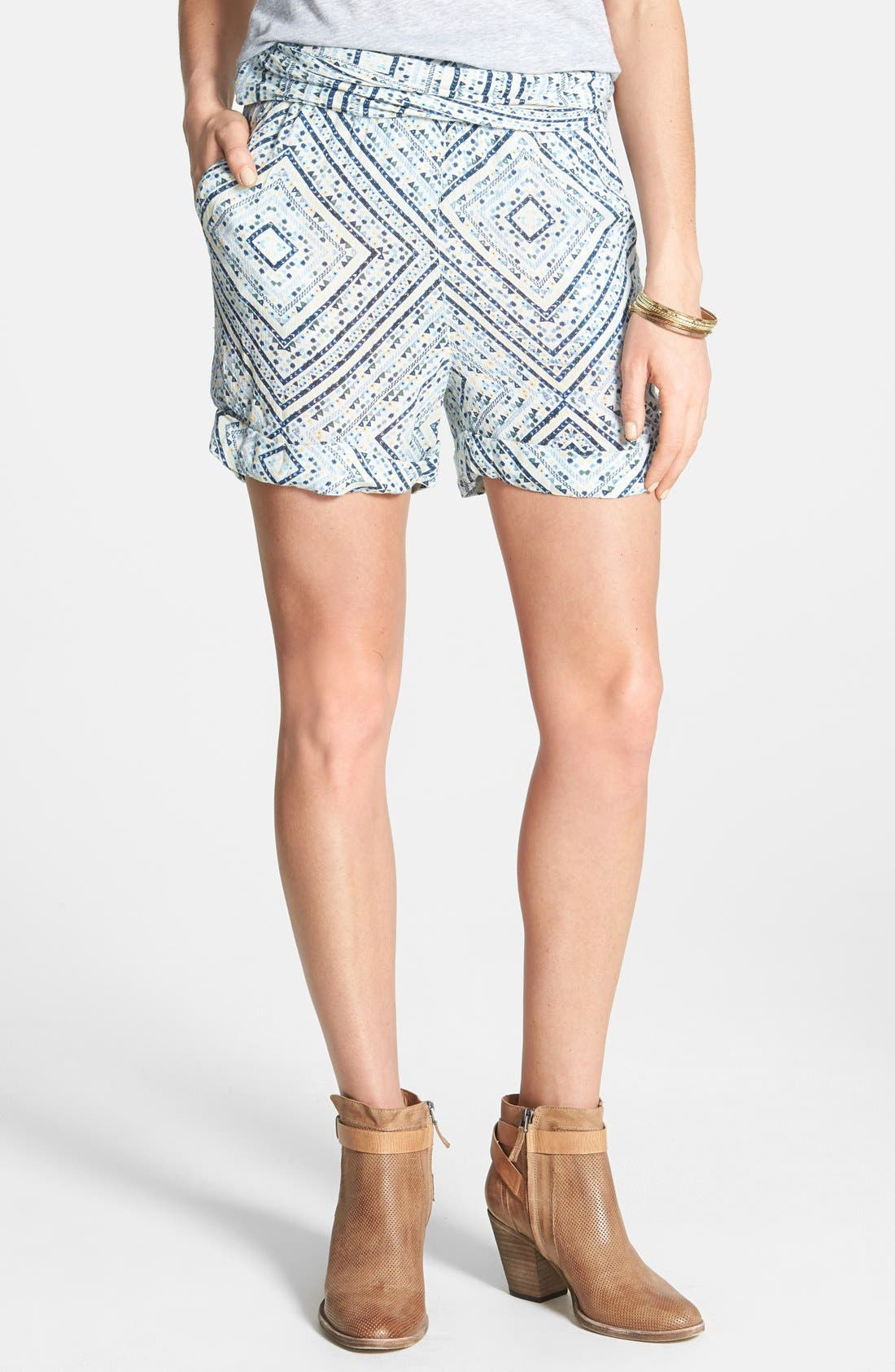 Alternate Image 1 Selected - Free People Twist Front Ikat Print Shorts