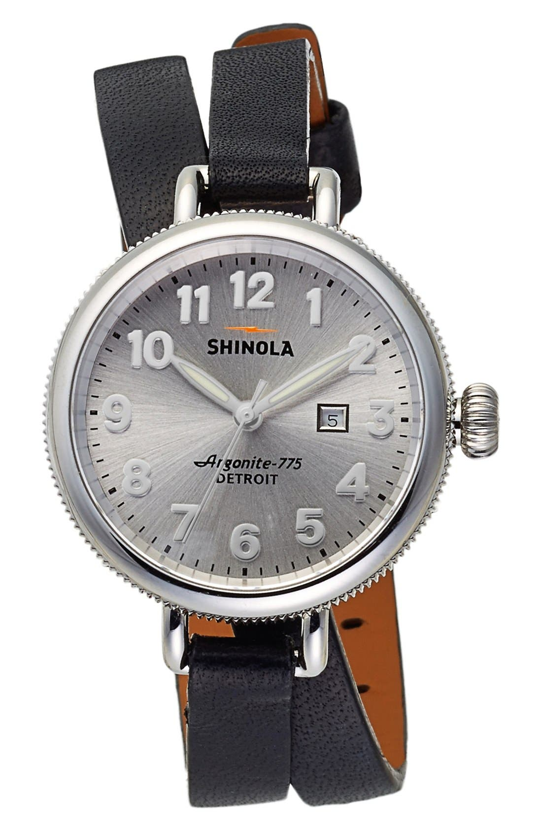 'The Birdy' Double Wrap Leather Strap Watch, 34mm,                         Main,                         color, Black/ Silver