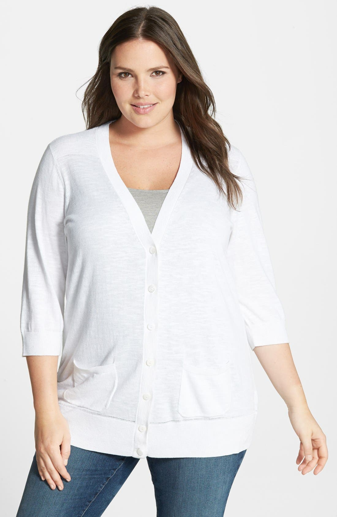 Alternate Image 1 Selected - Sejour 'Telstar Stitch' V-Neck Cardigan (Plus Size)