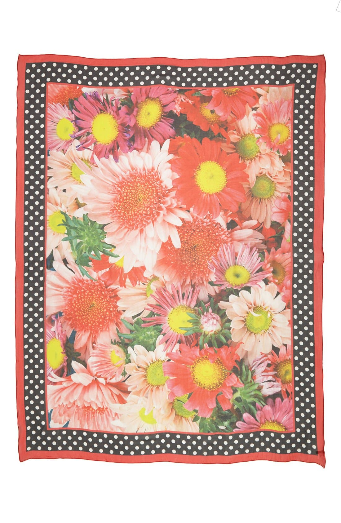 Alternate Image 2  - Nordstrom Floral Dots Silk Scarf