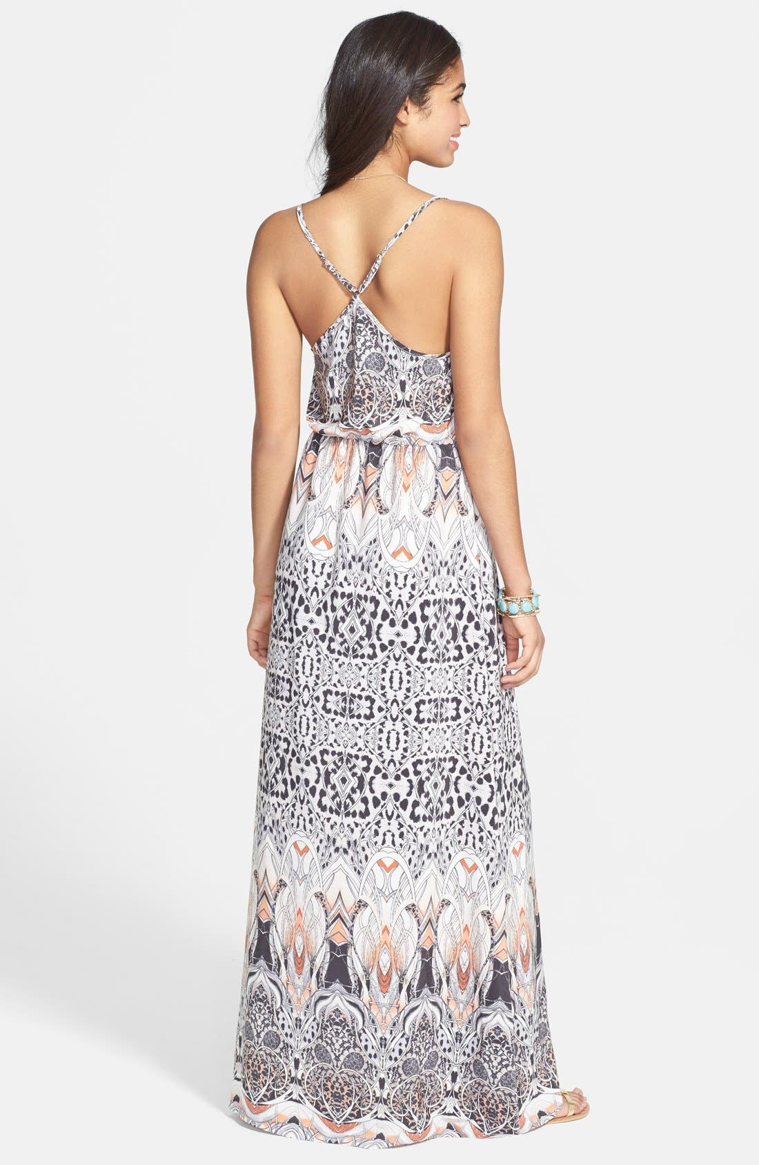 Alternate Image 2  - En Crème Print X-Back Maxi Dress (Juniors)