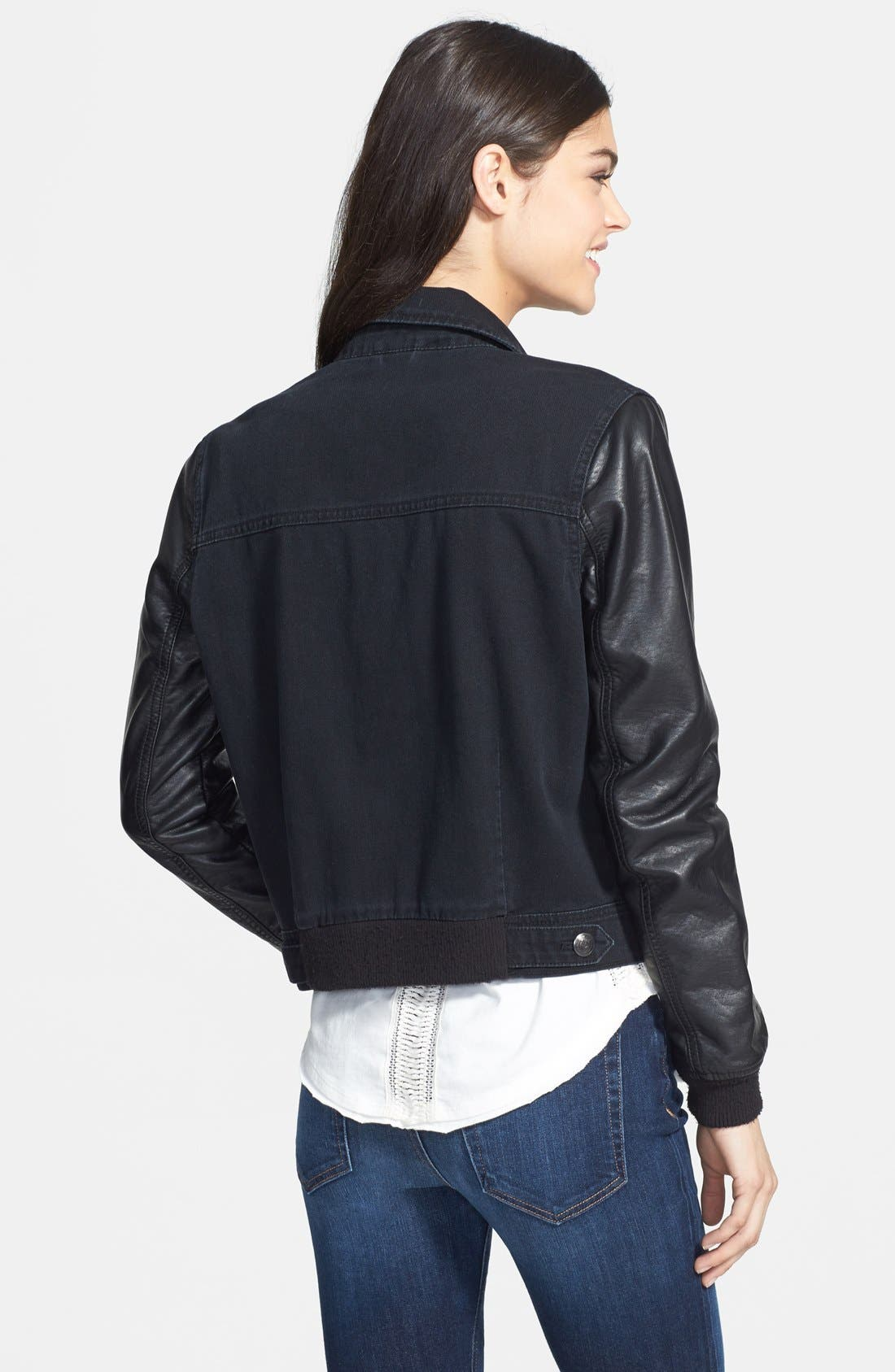 Alternate Image 2  - Free People Faux Leather Sleeve Denim Jacket (Nordstrom Exclusive)