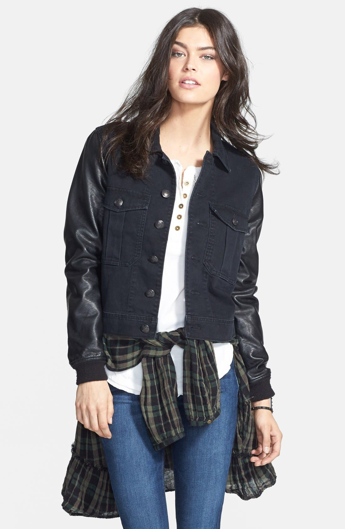Main Image - Free People Faux Leather Sleeve Denim Jacket (Nordstrom Exclusive)