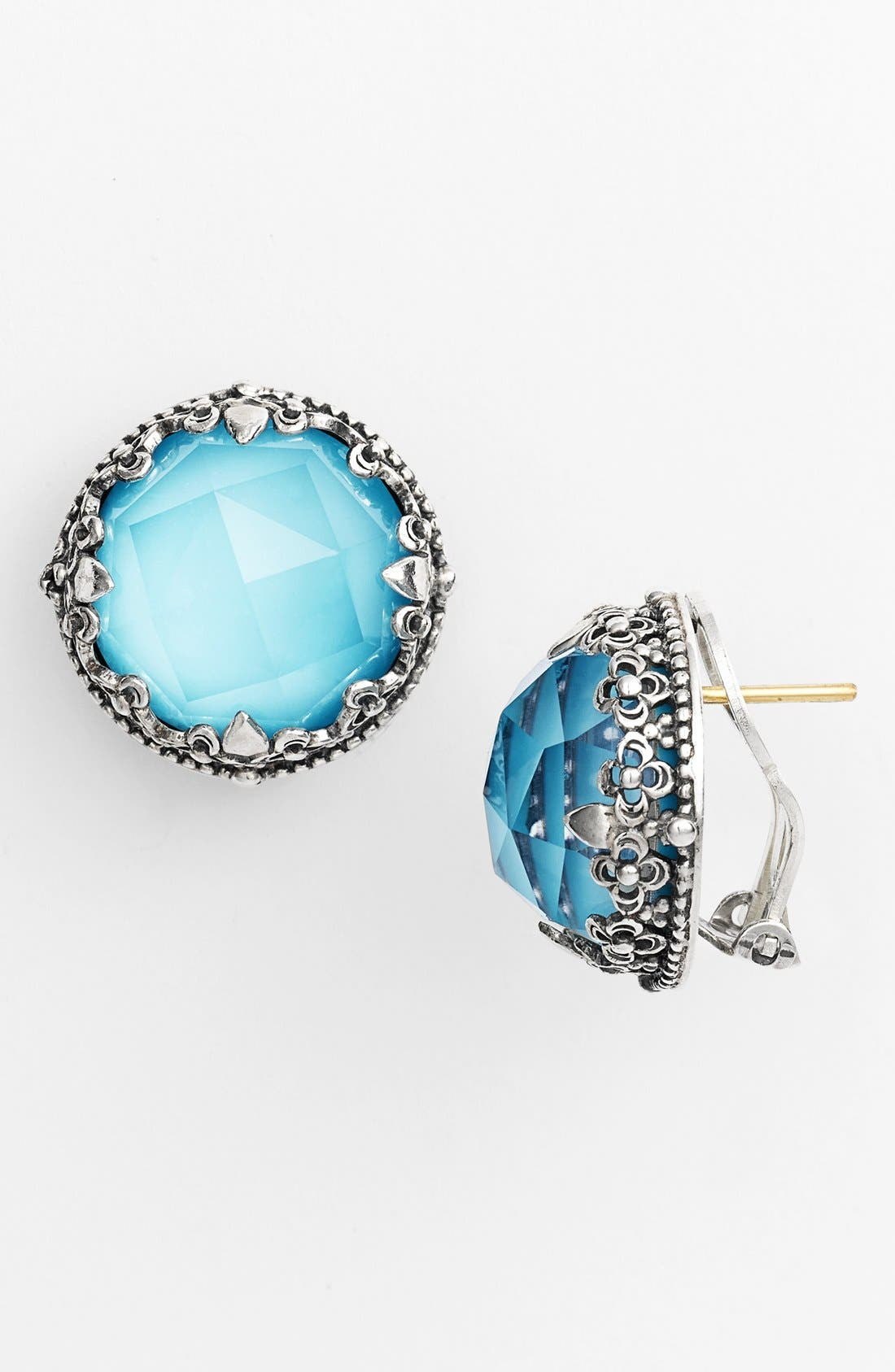 'Aegean' Stud Earrings,                         Main,                         color, Silver/ Turquoise