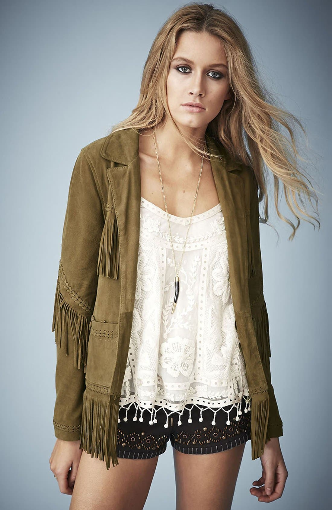 Kate Moss for Topshop Fringed Suede Jacket,                             Main thumbnail 1, color,                             Khaki