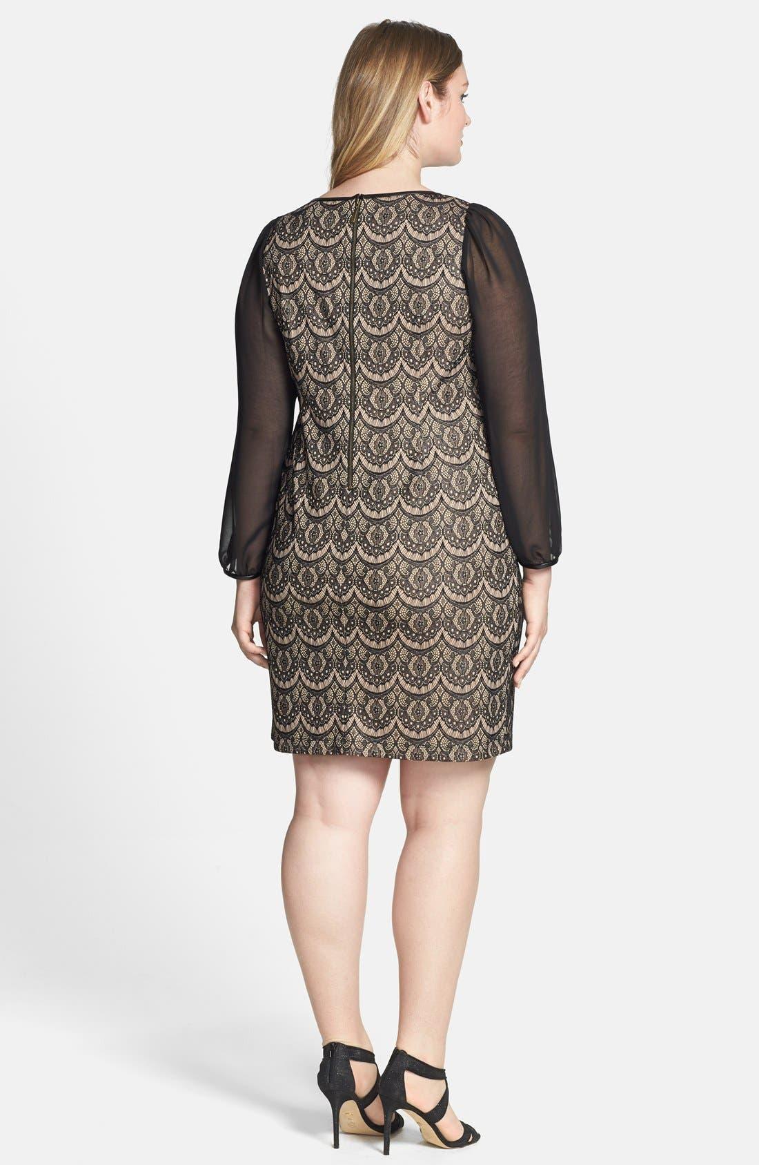 Alternate Image 2  - Donna Ricco Sheer Sleeve Lace Overlay Shift Dress (Plus Size)