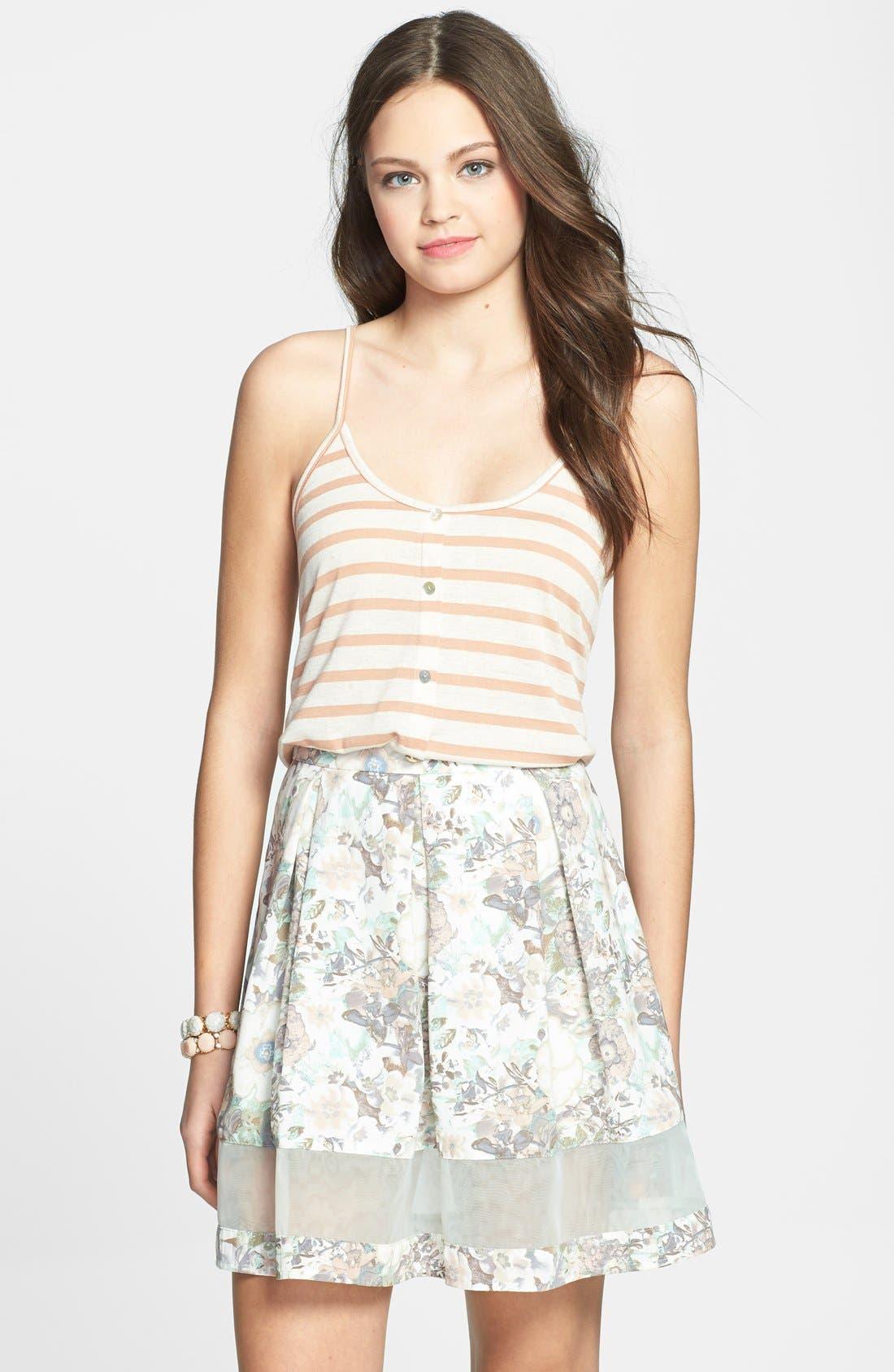 Main Image - BCNU Floral Print Organza Inset Pleat Skirt (Juniors)