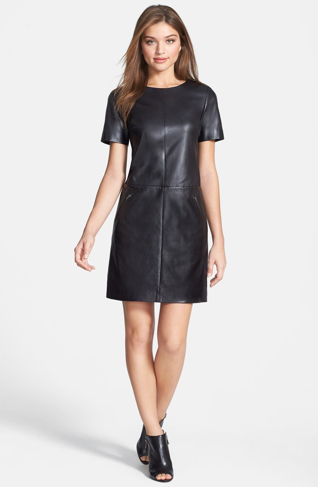 Alternate Image 1 Selected - Halogen® Leather & Ponte Knit Shift Dress (Regular & Petite)