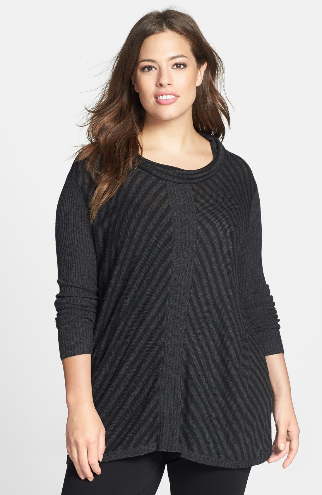 Alternate Image 1 Selected - Eileen Fisher Scrunch Neck Stripe Sweater (Plus Size)