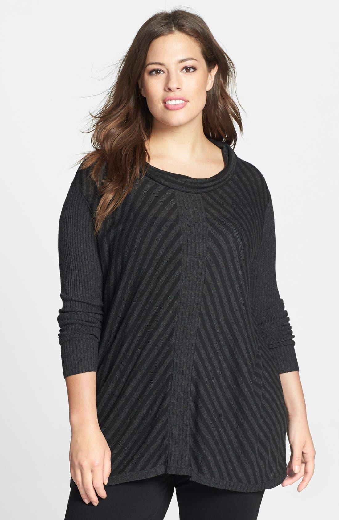 Main Image - Eileen Fisher Scrunch Neck Stripe Sweater (Plus Size)