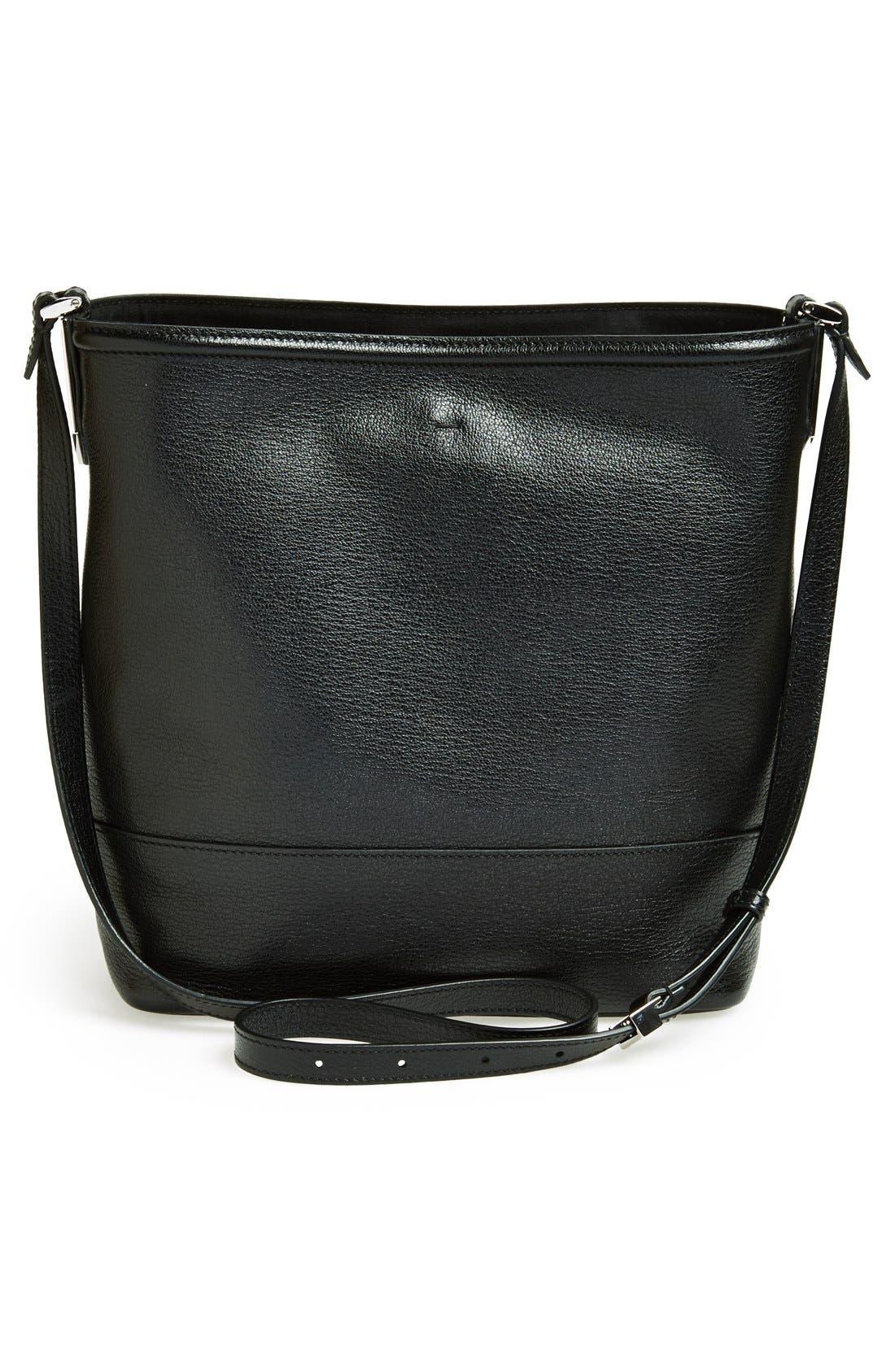 Leather Bucket Crossbody Bag,                             Alternate thumbnail 3, color,                             Black/ Palladium
