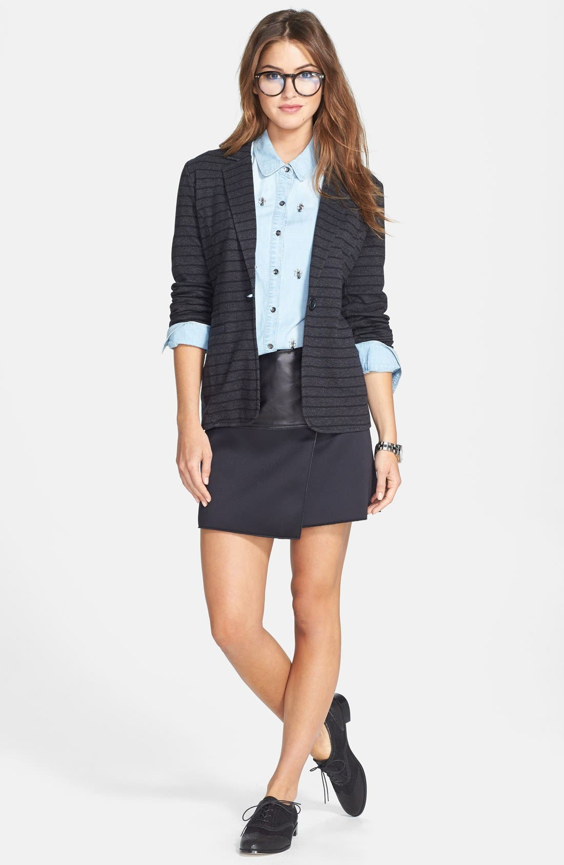 Alternate Image 6  - Halogen® Asymmetrical Zip Leather & Scuba Knit Skirt (Regular & Petite)