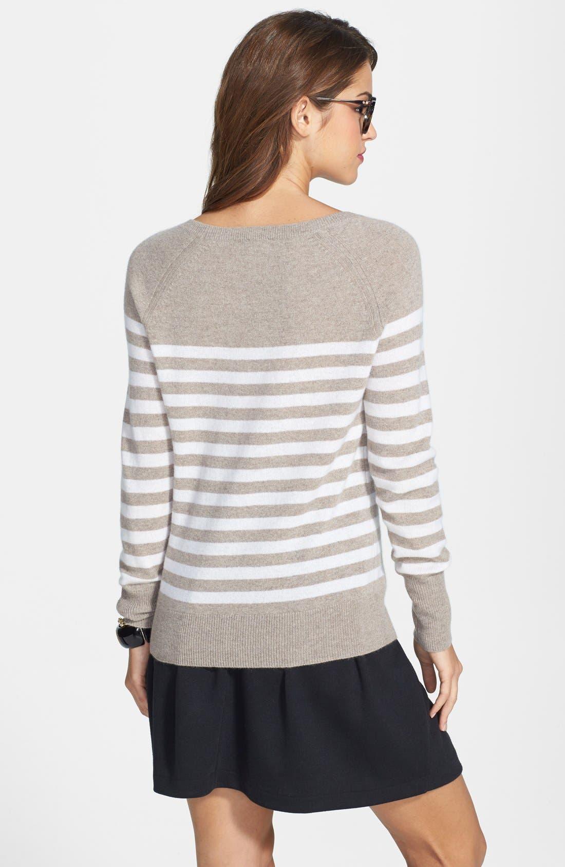 Alternate Image 2  - Halogen® Stripe Cashmere Sweater (Online Only)