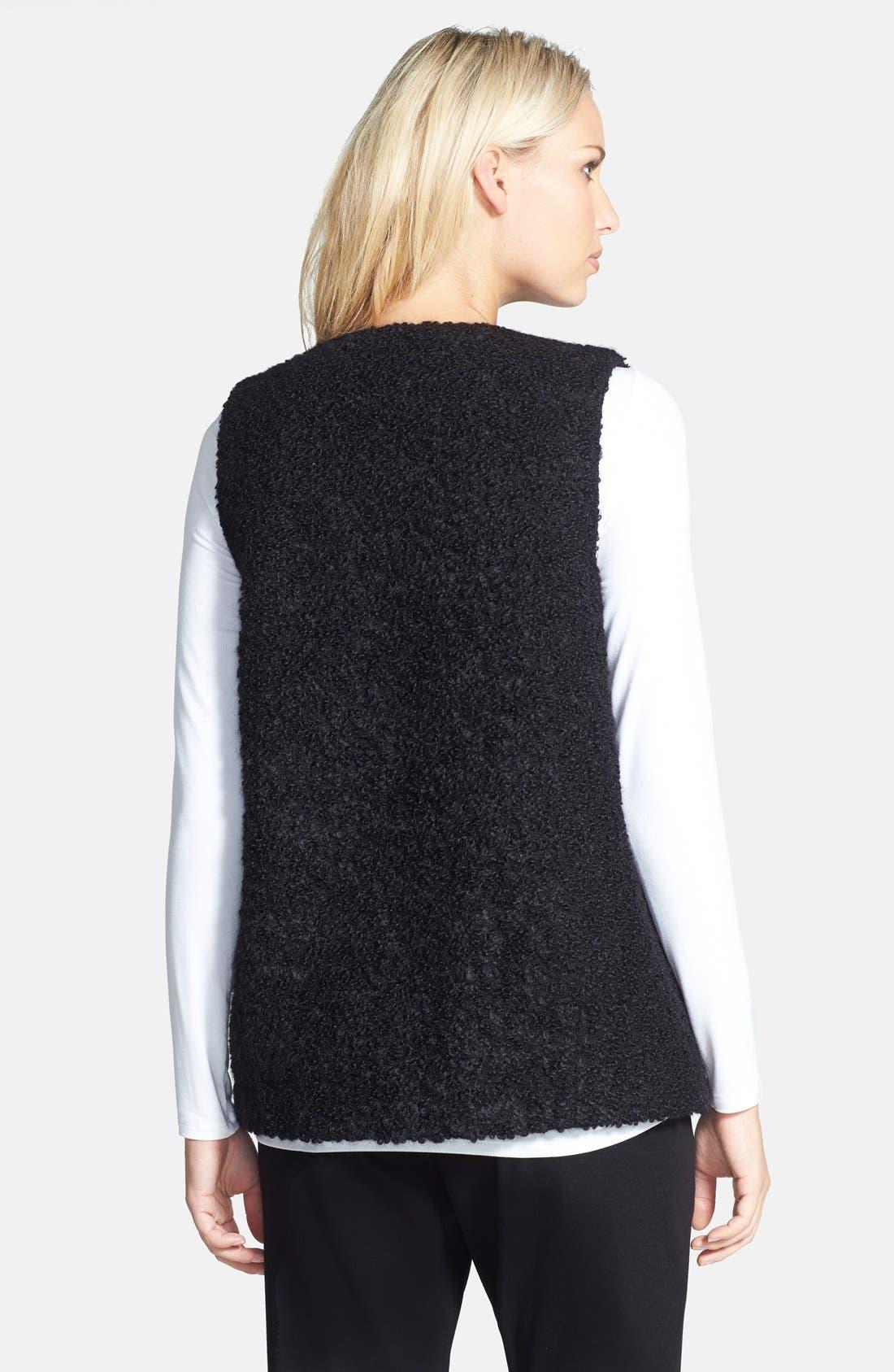 Leather Trim Alpaca Blend Vest,                             Alternate thumbnail 2, color,                             Black