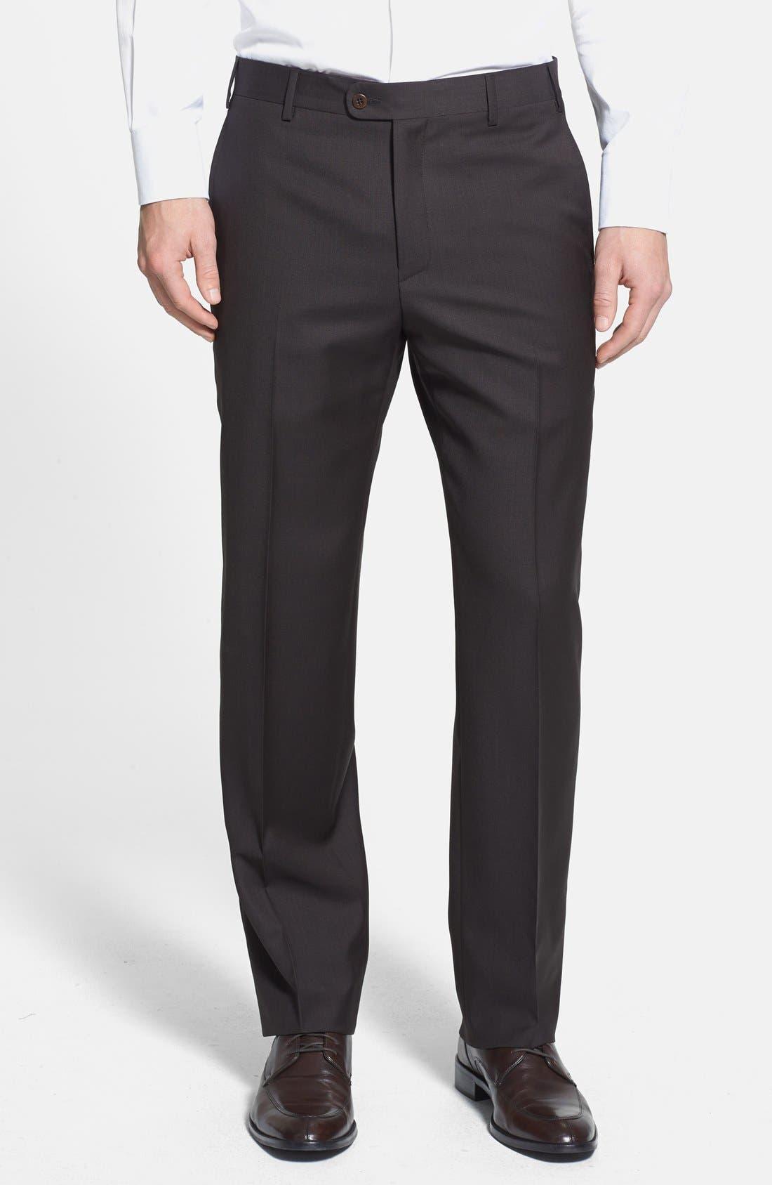 Main Image - Zanella 'Devon' Flat Front Wool Trousers