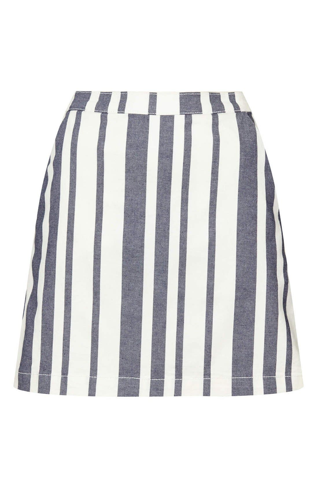 Alternate Image 3  - Topshop Moto Stripe Denim Skirt