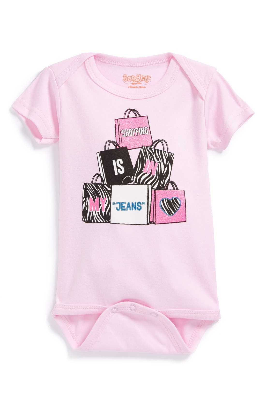 Main Image - Sara Kety Baby & Kids 'Shopping Jeans' Short Sleeve Bodysuit (Baby Girls)