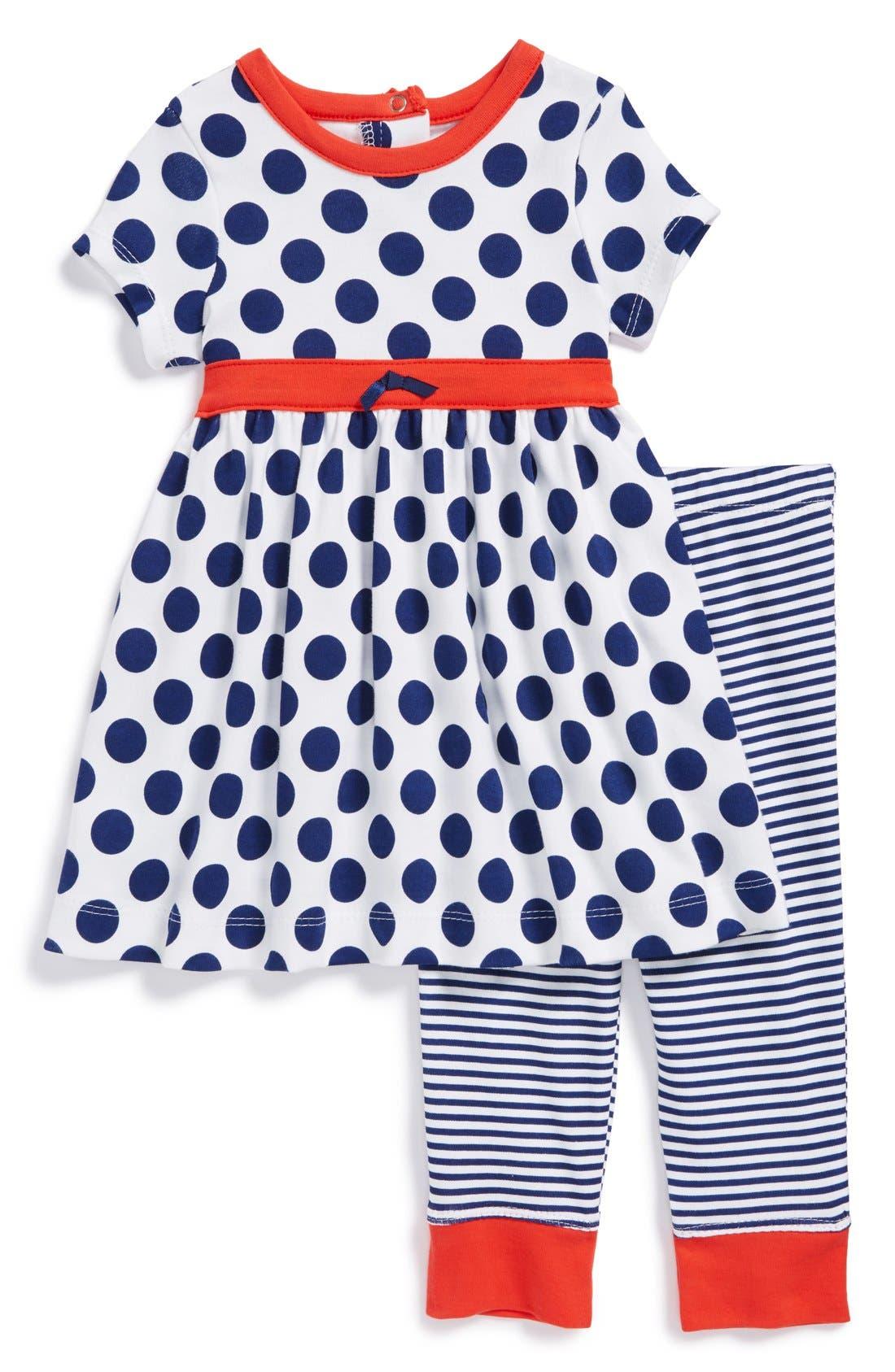 Alternate Image 1 Selected - Offspring 'Polka Dot' Dress & Leggings (Baby Girls)