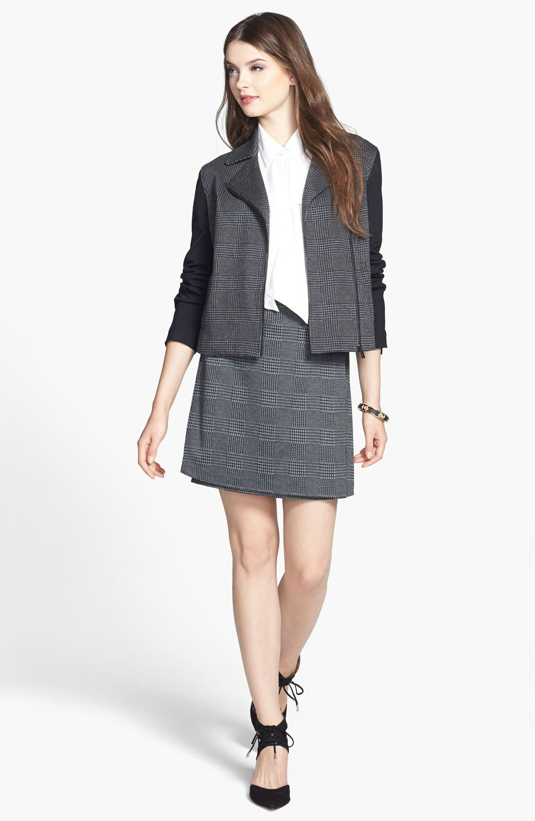 Alternate Image 4  - Vince Camuto Glen Plaid Faux Wrap Miniskirt