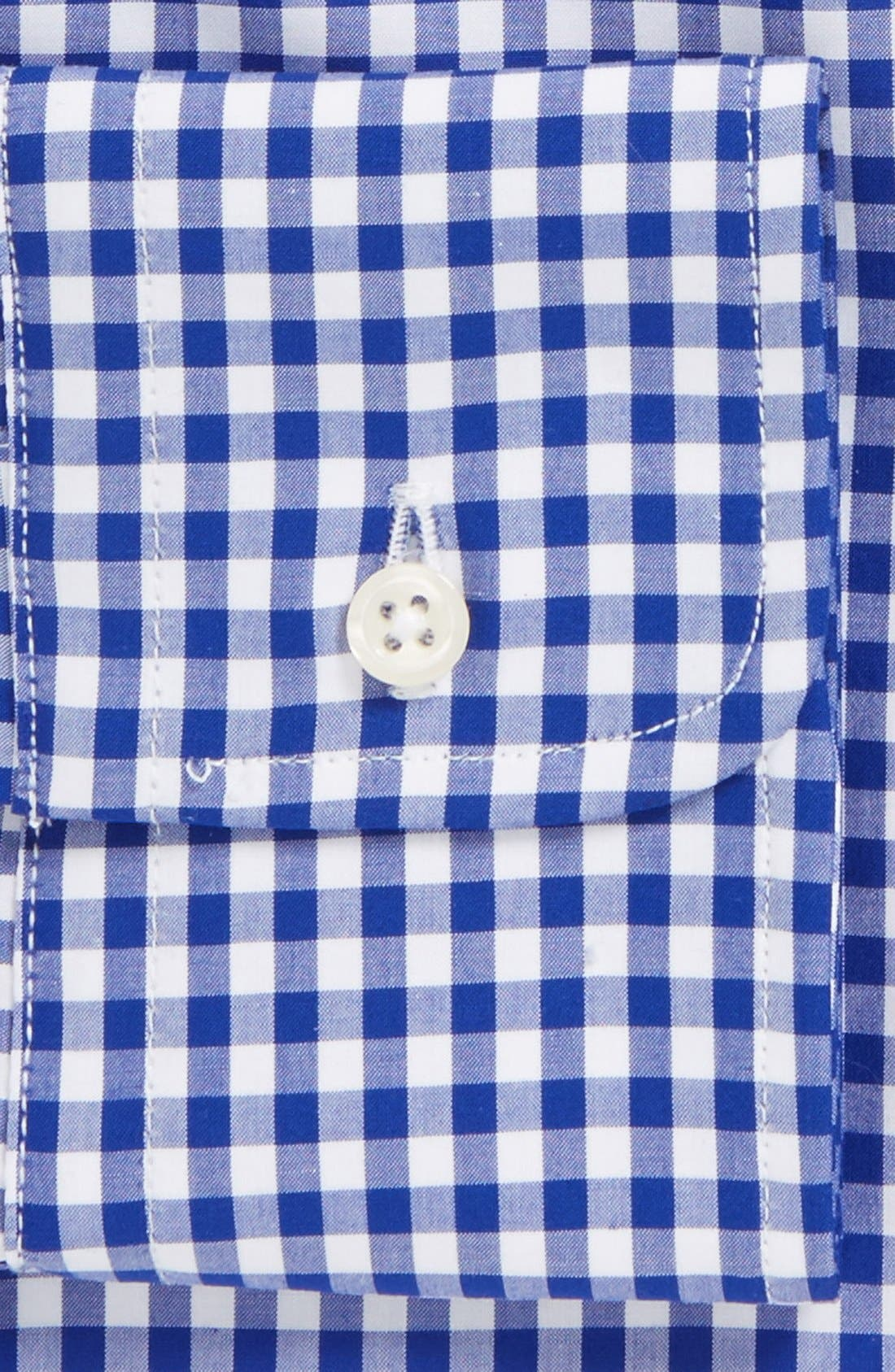 Regular Fit Cotton Gingham English Spread Collar Dress Shirt,                             Alternate thumbnail 2, color,                             Blue