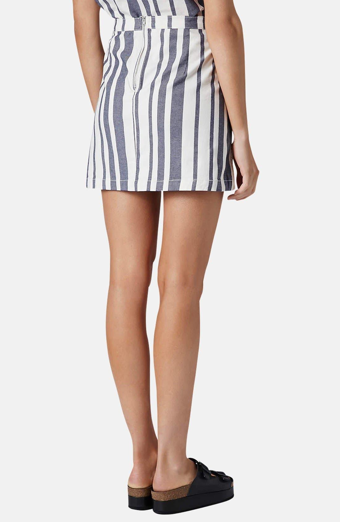 Alternate Image 2  - Topshop Moto Stripe Denim Skirt