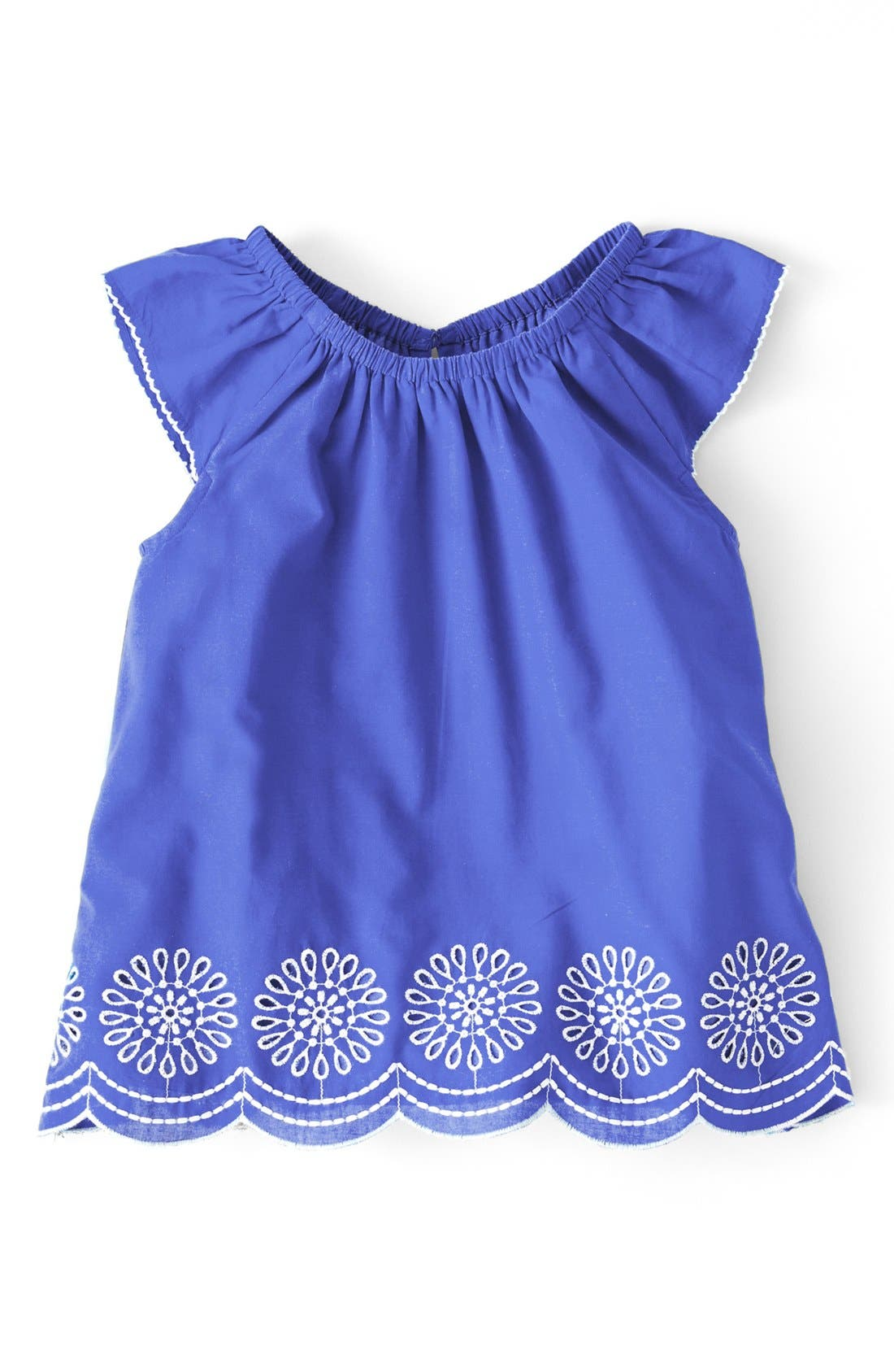 Main Image - Mini Boden 'Broderie' Cotton Cambric A-Line Top (Little Girls & Big Girls)
