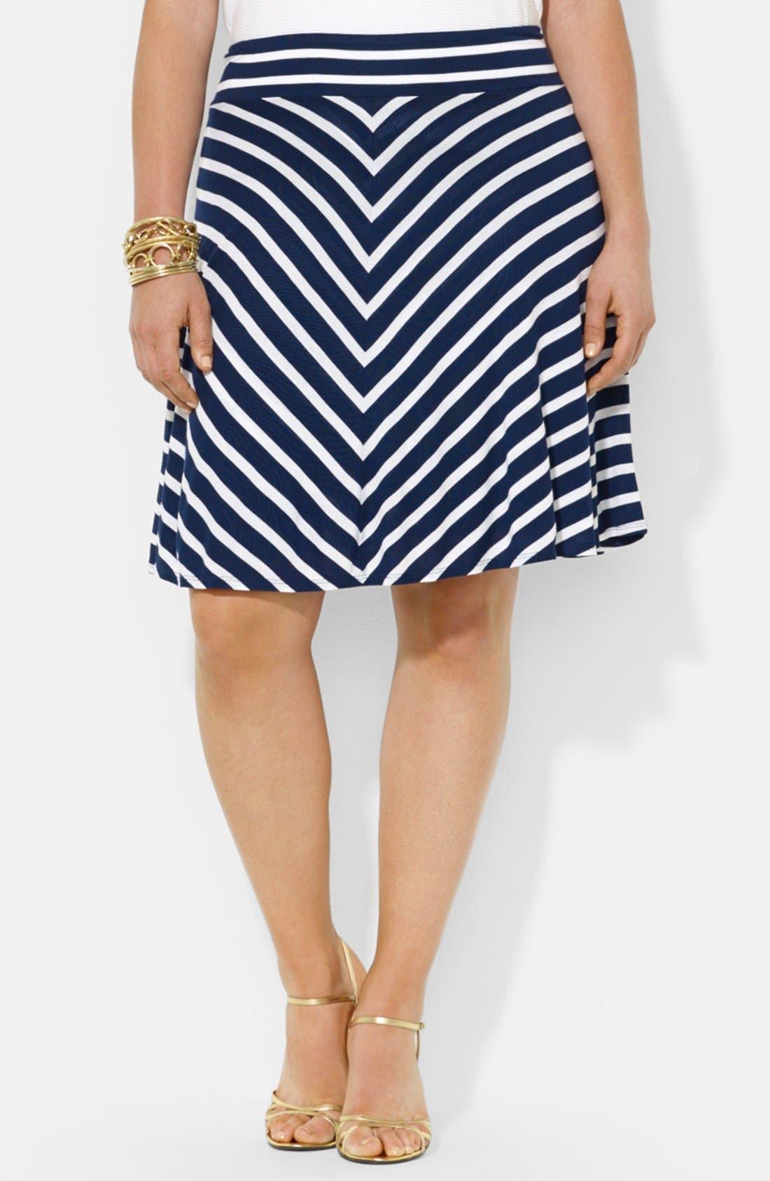 Main Image - Lauren Ralph Lauren Stripe Jersey Skirt (Plus Size)