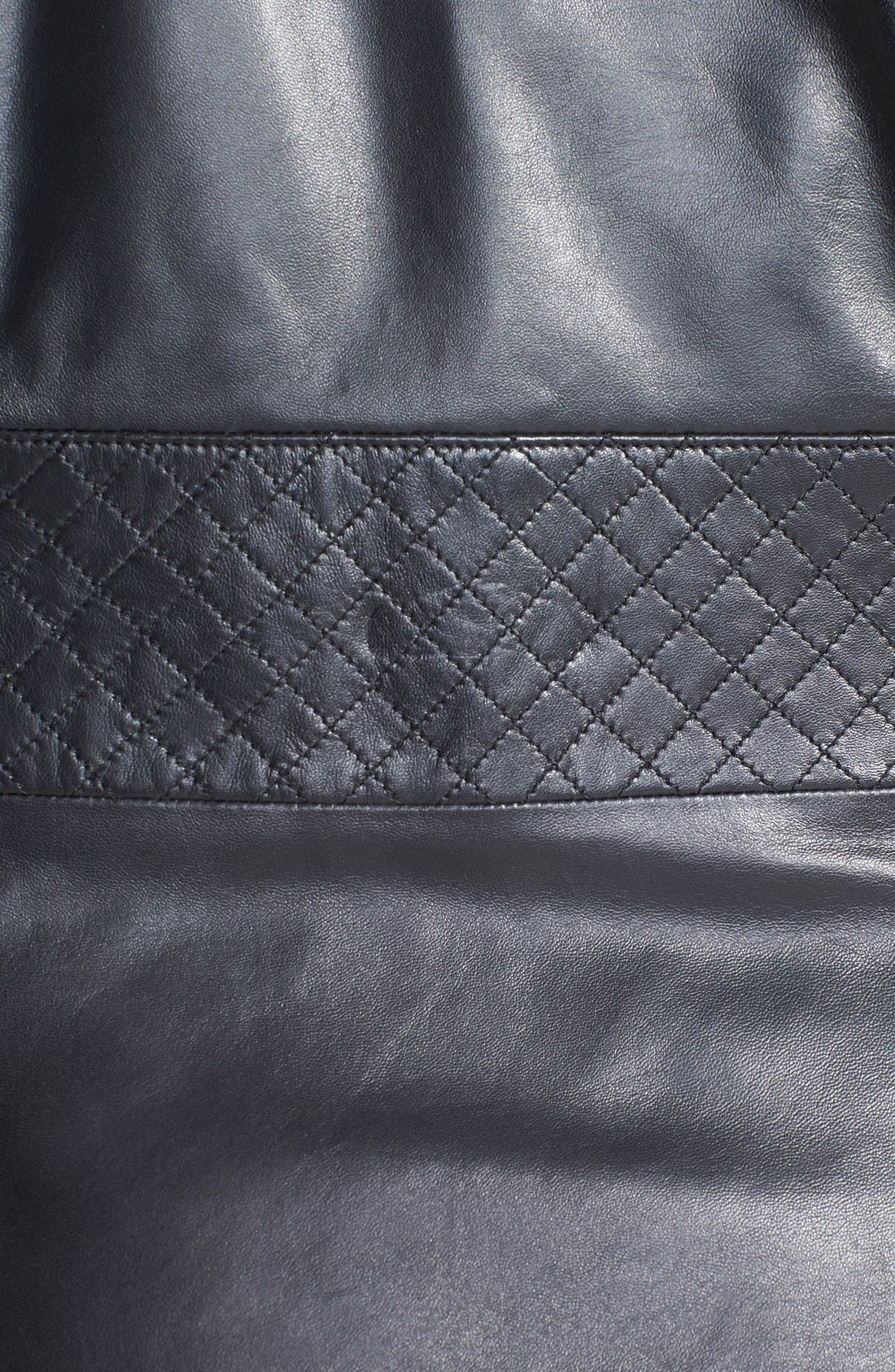 Alternate Image 3  - Sejour Quilted Leather Peplum Jacket (Plus Size)