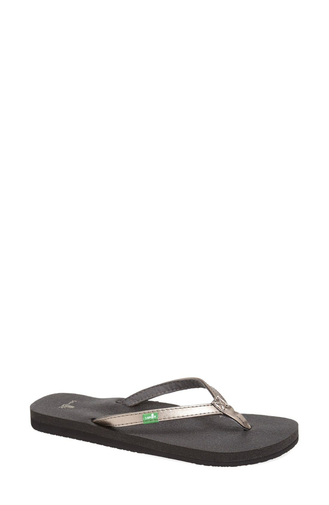 'Yoga Joy' Metallic Flip Flop,                             Main thumbnail 1, color,                             Pewter