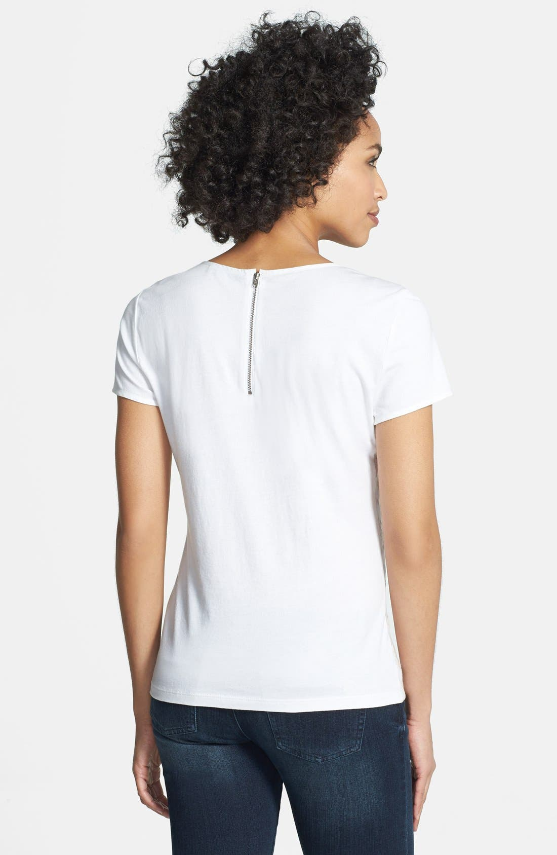 Alternate Image 2  - Adrianna Papell Embroidered Cotton & Modal Tee