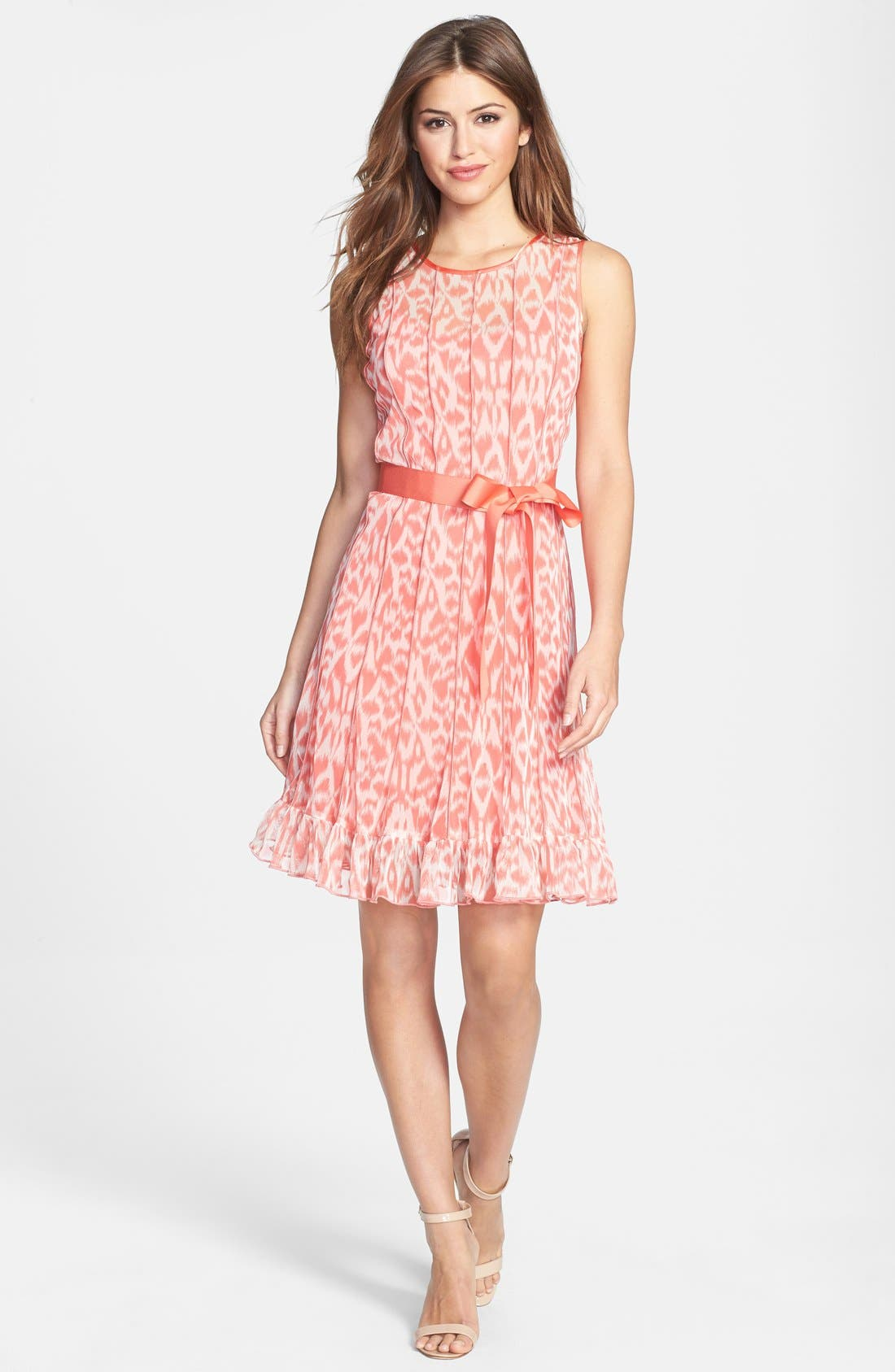 Alternate Image 3  - Eliza J Print Pintuck Chiffon Fit & Flare Dress (Petite)