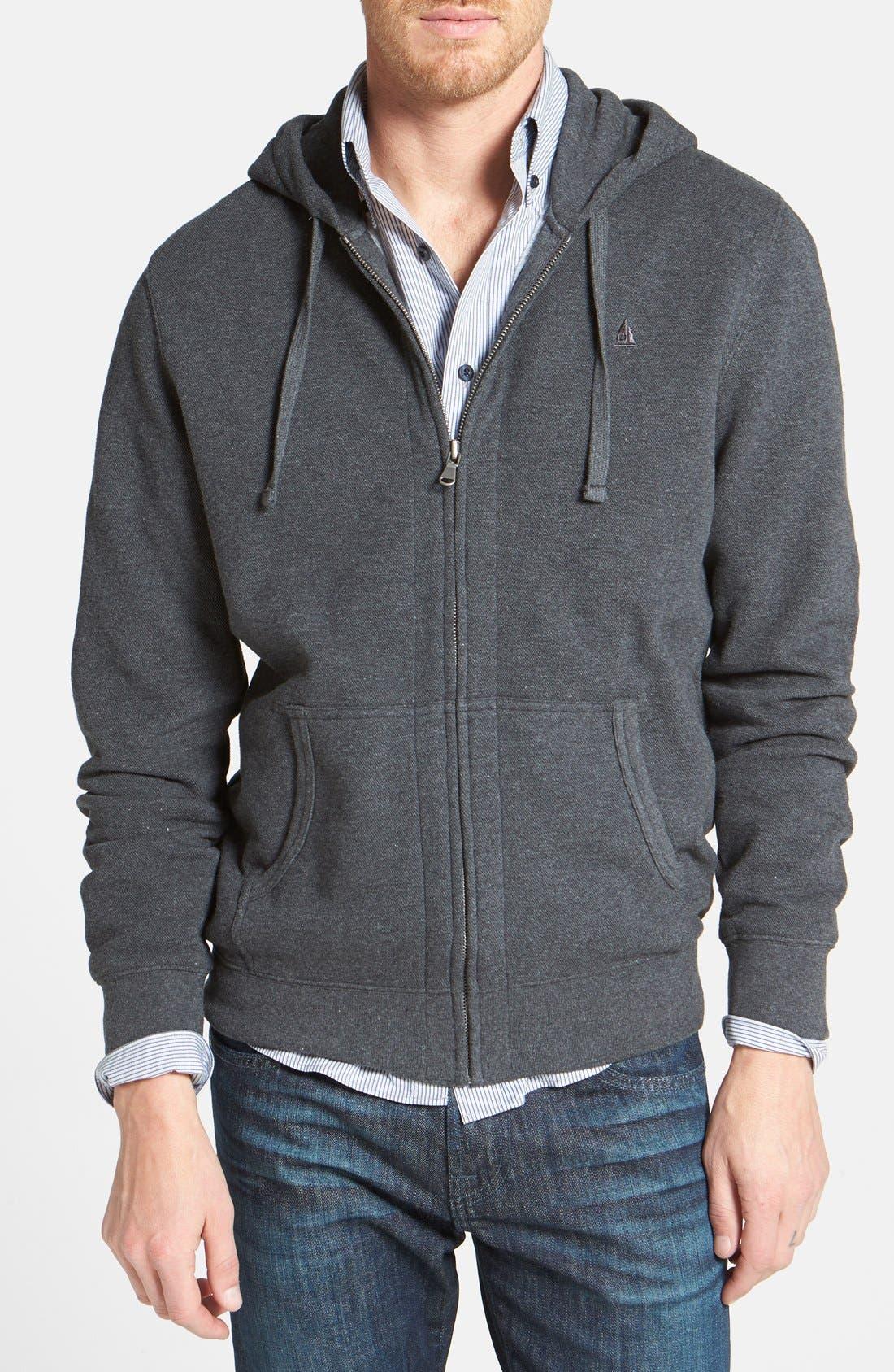 Main Image - Nordstrom Full Zip Piqué Knit Hoodie