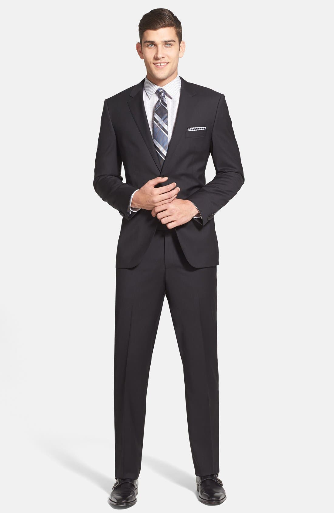 Alternate Image 1 Selected - BOSS 'James/Sharp' Trim Fit Black Super 120s Wool Suit