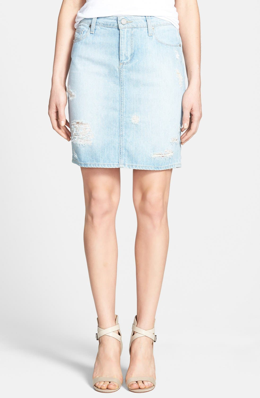 Alternate Image 1 Selected - Paige Denim 'Kyle' Destroyed Denim Pencil Skirt (Naomi Destructed)