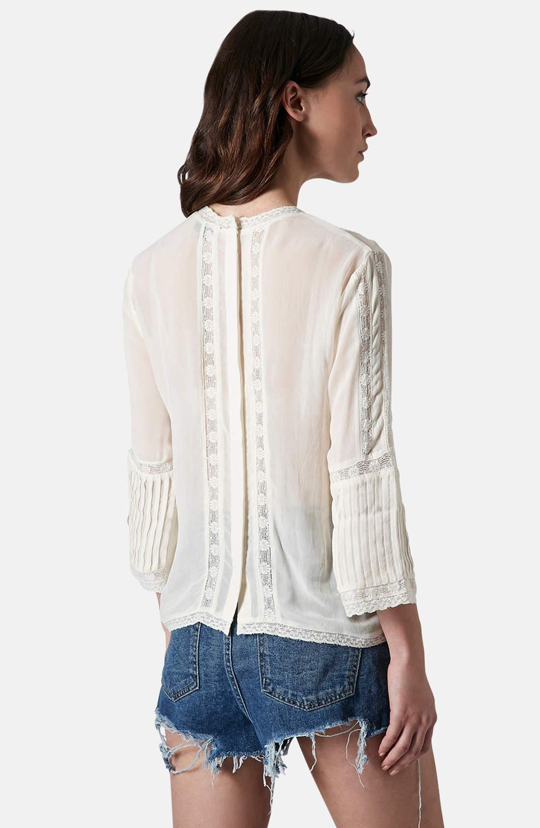 Alternate Image 2  - Topshop Embroidered Blouse