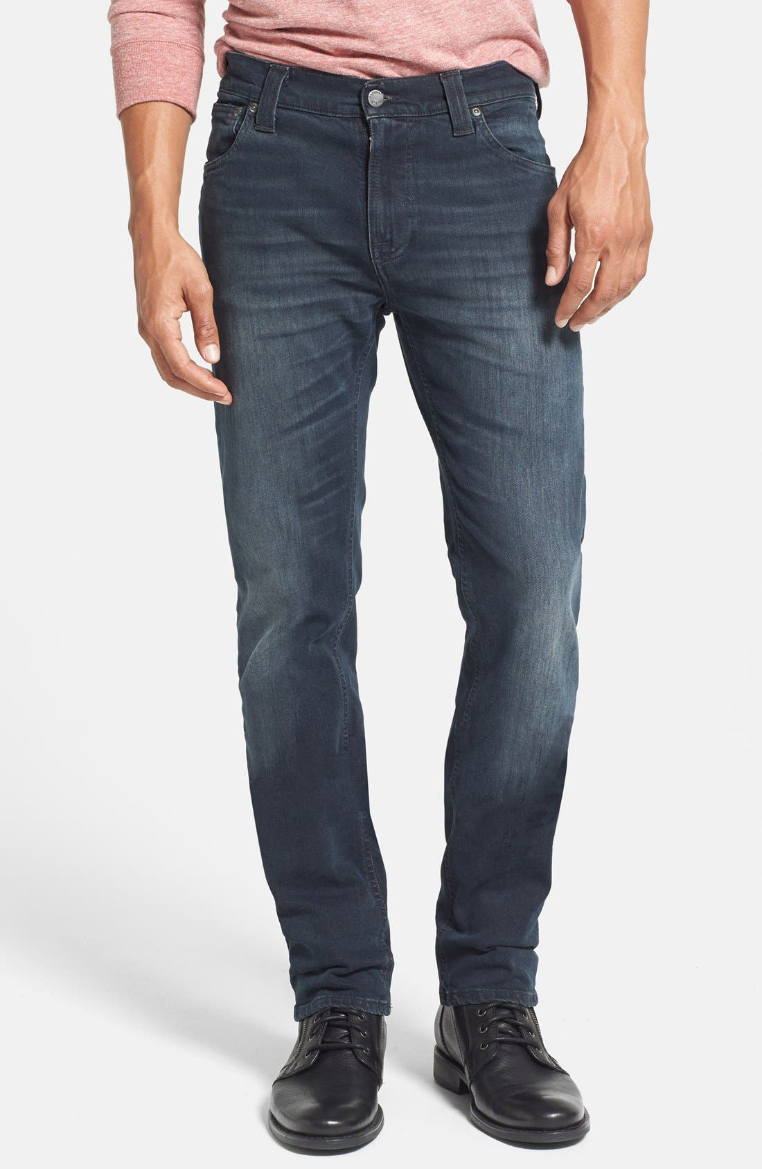 Main Image - Nudie Jeans 'Thin Finn' Skinny Fit Jeans (Organic Black Grey)