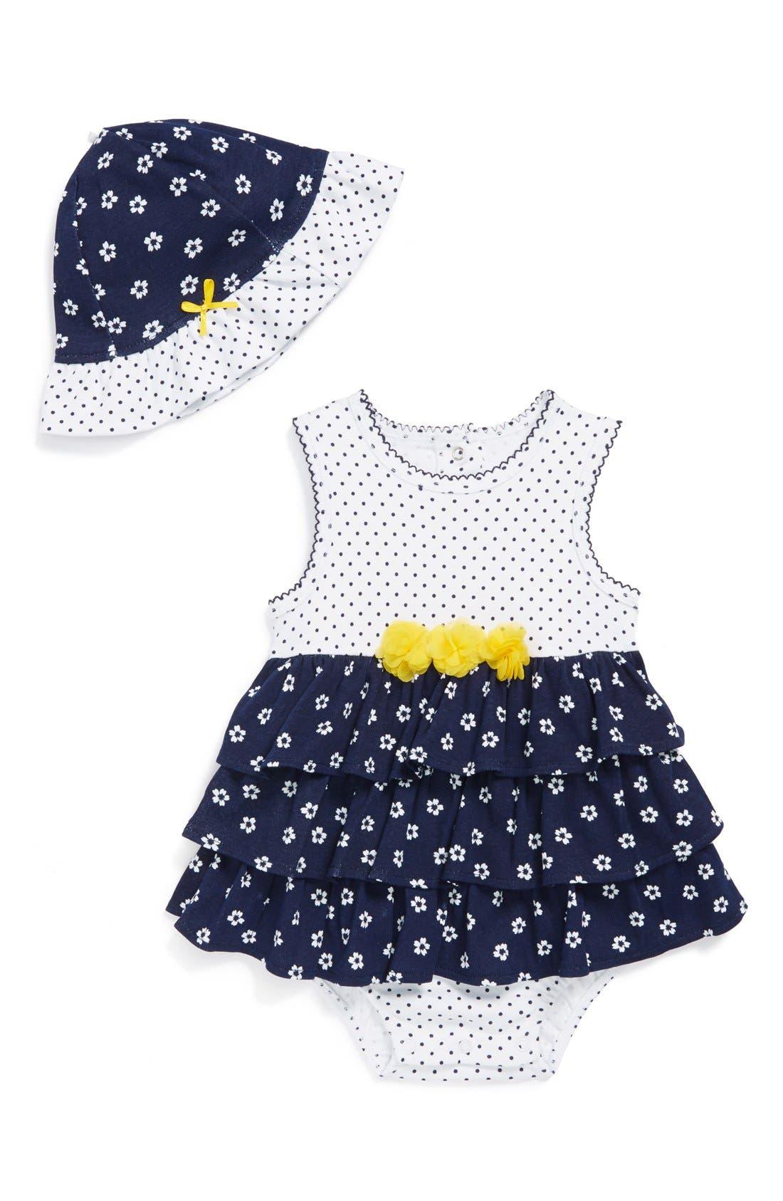 Main Image - Little Me 'Flower Popover' Bodysuit & Hat (Baby Girls)